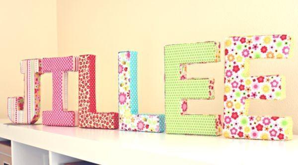 Letras decoradas com tecido decoram qualquer ambiente (Foto: onegoodthingbyjillee.com)