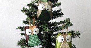 Coruja para Árvore de Natal Passo a Passo com Molde