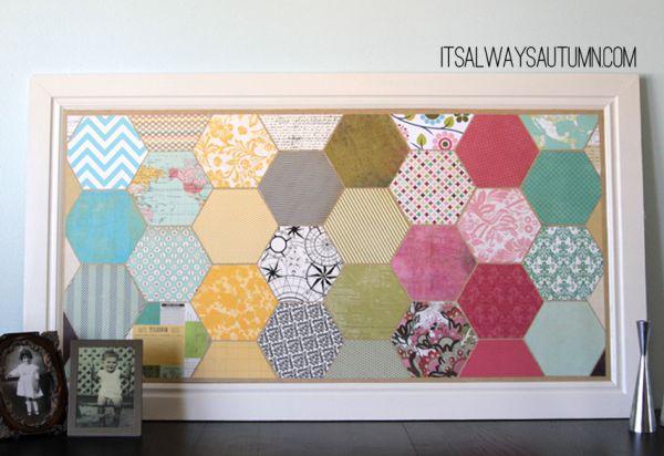 Esta ideia para fazer quadros com papel scrapbook é linda e barata (Foto: itsalwaysautumn.com)