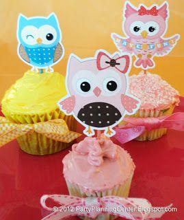 Estas simpáticas corujas para decorar cupcakes deixam qualquer festa mais divertida (Foto: printablepartyinvitations.blogspot.com.br)