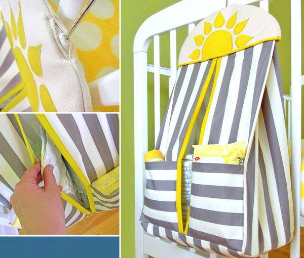 Porta fraldas de tecido para pendurar é lindo e útil (Foto: sew4home.com)