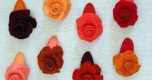 Presilhas de Cabelo de Rosas em Feltro Passo a Passo com Molde