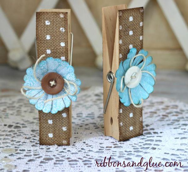 Prendedor de roupa decorado é lindo e fácil de ser conseguido (Foto: ribbonsandglue.com)
