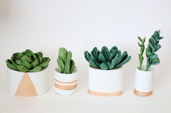 Plantinhas de papel crepom são lindas e fáceis de serem conseguidas (Foto: ashandcrafts.com)