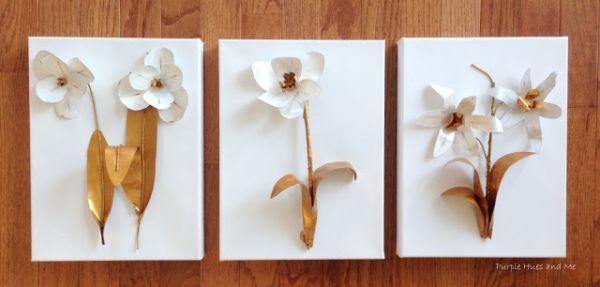 Estes quadrinhos com flores de latinha são lindíssimos e muito chiques, nem parecendo que forma feitos com material que iria para o lixo (Foto: plumperfectandme.com)