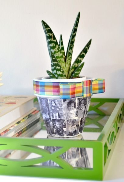 Invista já neste lindo vaso de barro decorado com fotos (Foto: modpodgerocksblog.com)