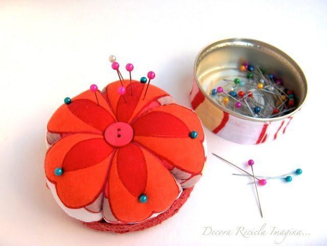 Agulheiro com material reciclável é lindo e barato (Foto: decorareciclaimagina.blogspot.com.br)