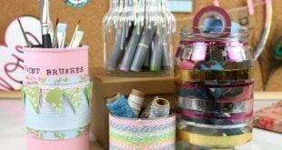 Artesanato para Mesa de Estudos com Material Reciclado