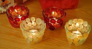 Faça já muitos deste simpático porta-vela decorado com botões (Foto: ihanna.nu)