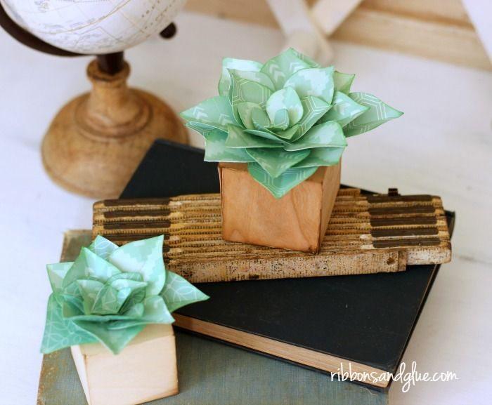 Faça já algumas suculentas de papel (Foto: ribbonsandglue.com)