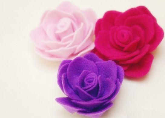 Aparador Para Sala ~ Rosas de Feltro Passo a Passo Artesanato Passo a Passo!