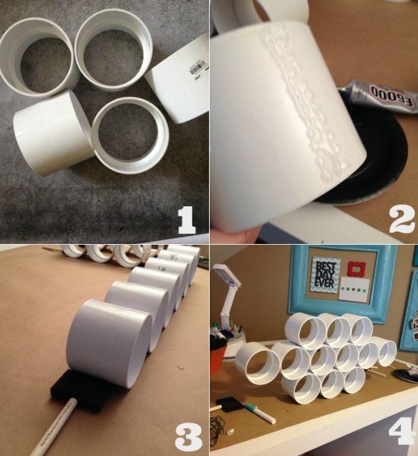 Ideia de Organizador de Materiais com Tubo PVC
