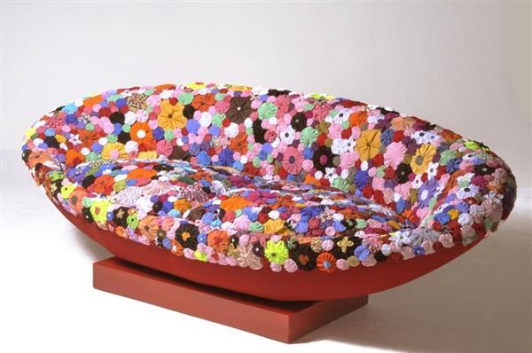 como fazer capa para sofa de fuxico
