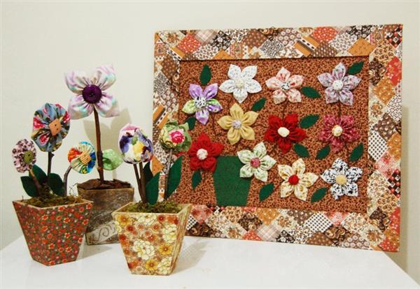 decoração com flores de fuxico