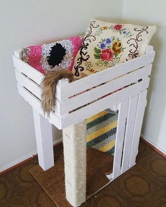 caixote de madeira decorado