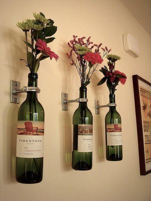 ideias jardim reciclado : ideias jardim reciclado:Artesanatos Feitos com Garrafas de Vinho – Artesanato passo a passo!