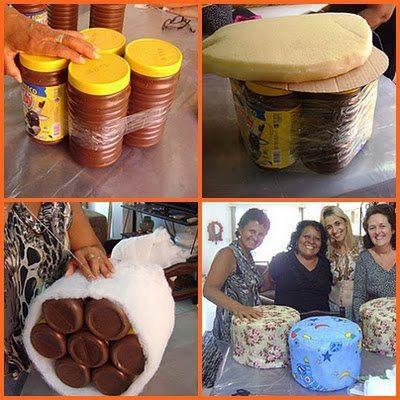 Ideias de artesanatos com pote de toddy artesanato passo for Sillones que se hacen cama
