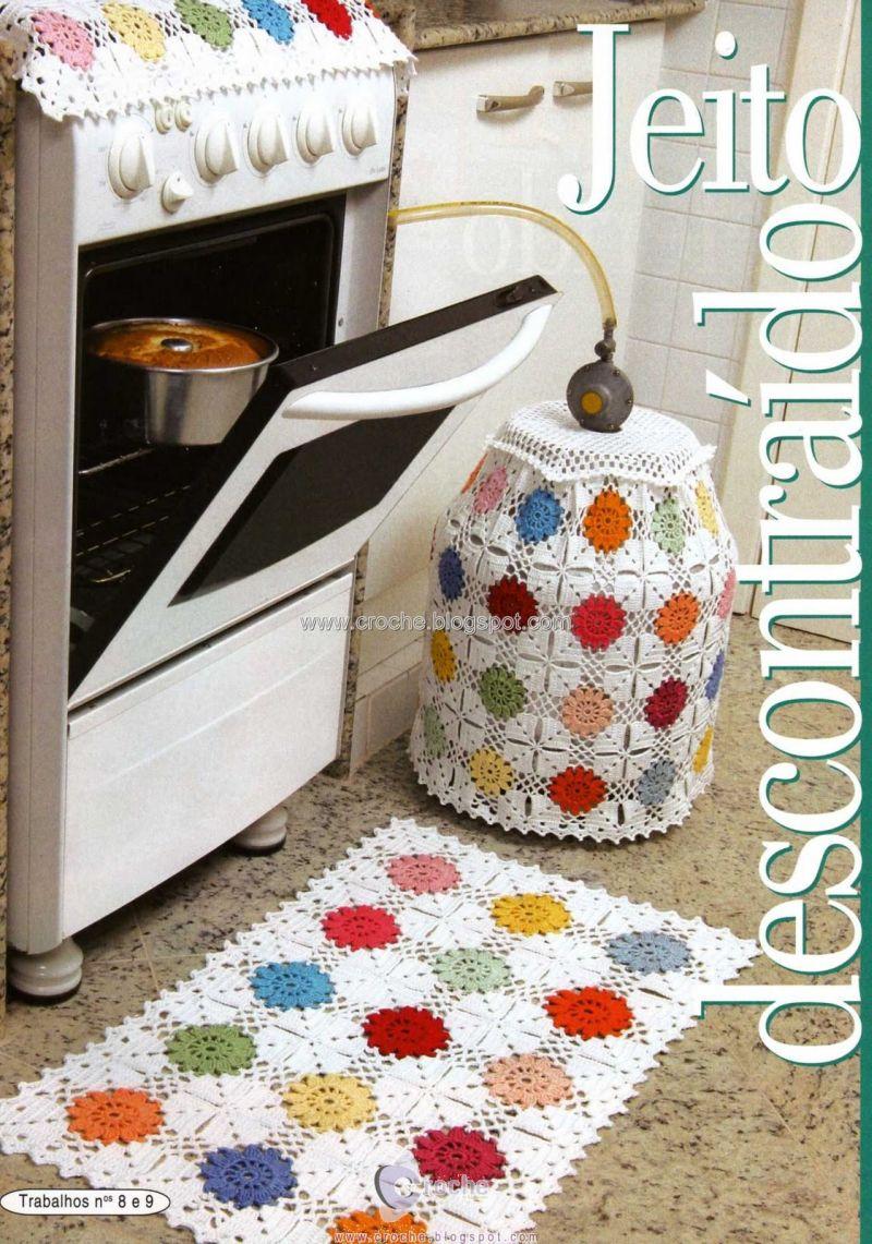 decorar cozinha jogos:Jogos de Cozinha de Crochê, 15 Fotos – Artesanato passo a passo!