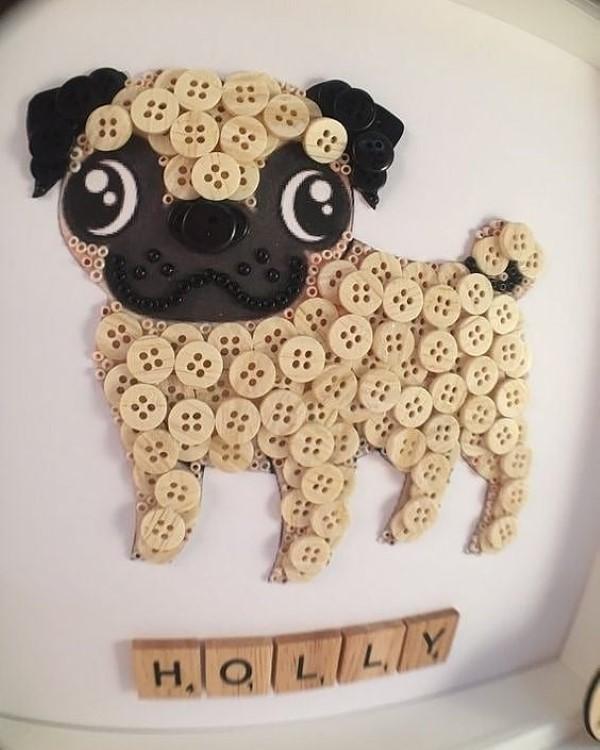 cachorrinho feito com botões