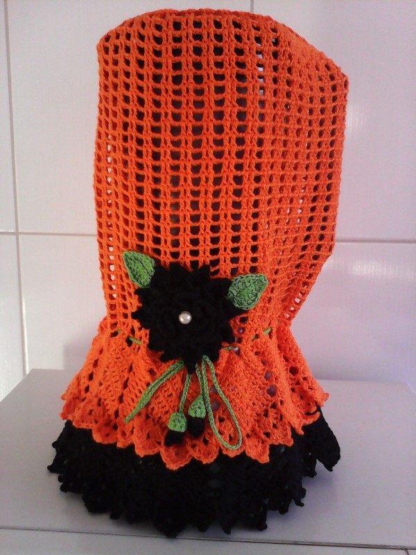 capa para liquidificador em croche laranja com preto