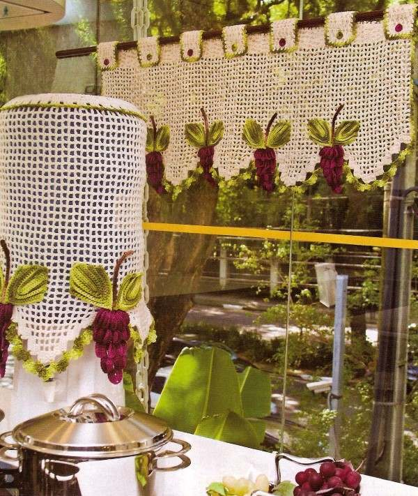 cortina de cozinha de croche