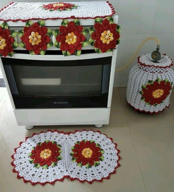 jogo de cozinha de croche vermelho