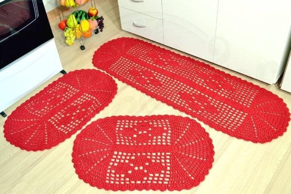 jogo de cozinha de croche vermelho e branco