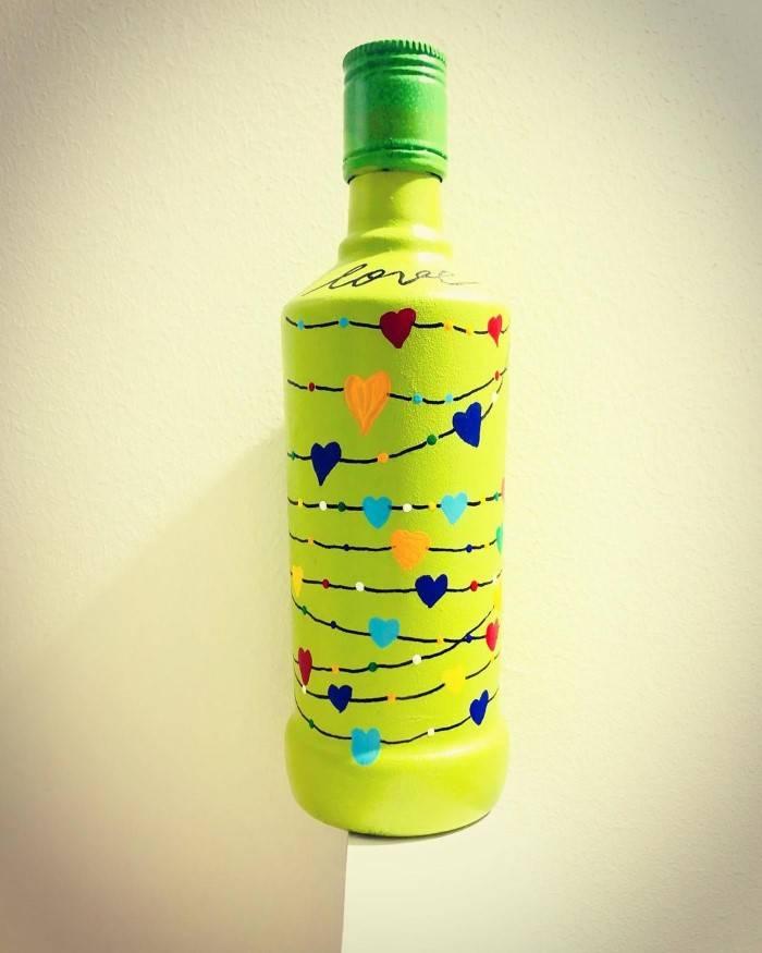 garrafa verde decorada