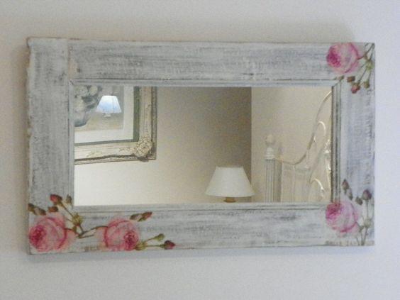 15 ideias de artesanato r stico em madeira artesanato for Espejos con marco de madera decorados
