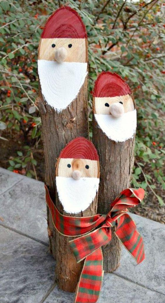 Log DIY Christmas Decorations Snowmen~ Artesanato De Natal Para Jardim