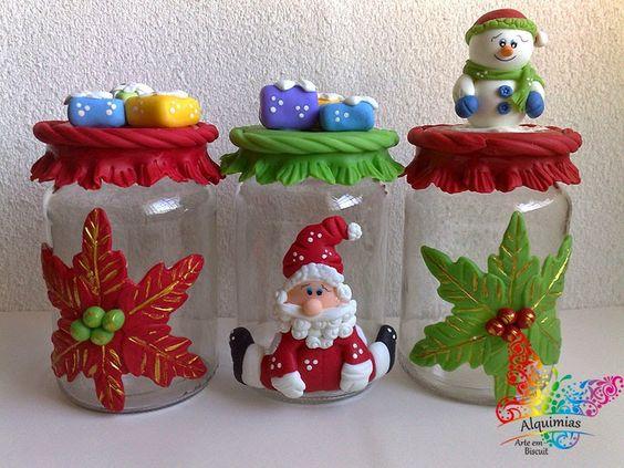 Aparador Adega Preto ~ Potes de Natal em Biscuit, 20 Fotos Artesanato Passo a Passo!