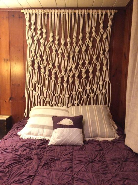 Cabeceira de cama com Macramê