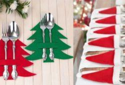 porta talheres natalino em feltro
