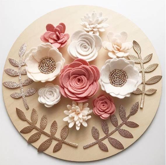 flores em feltro para cozinha