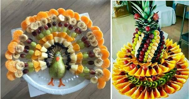decoração de mesa de ano novo com frutas cortadas