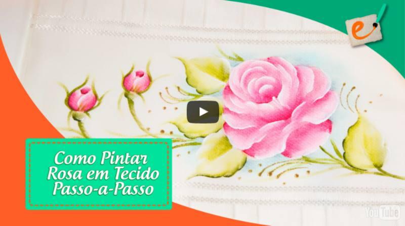 curso de pintura rosas em tecido