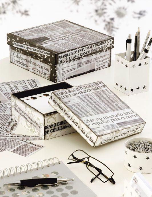 artesanato de jornal caixa