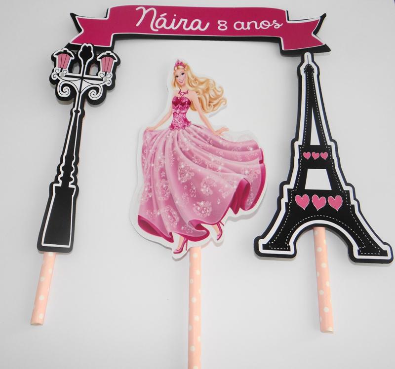 Topo de Bolo em Scrap da Barbie