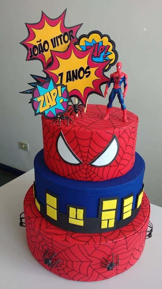 Topo de bolo em scrap Homem Aranha