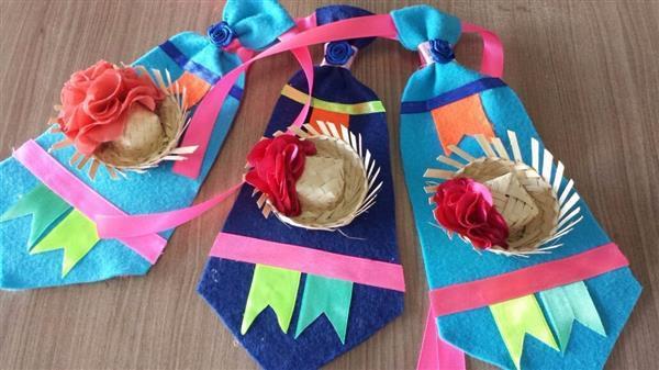 gravata-infantil-feltro-festa-junina-decorada-artesanal