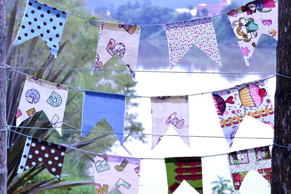 bandeirinhas de festa junina com retalho de tecido