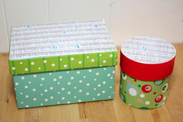 caixinhas com material reciclável