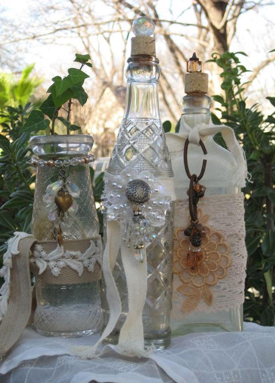garrafa decorada com chave
