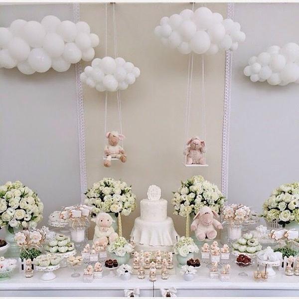 painel do bolo com nuvem de balão