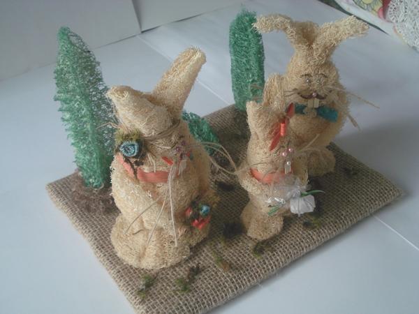 coelhos de bucha vegetal