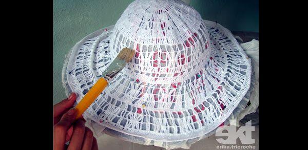 chapéu de crochê endurecido com termolina