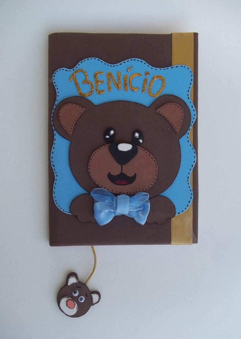 caderno com eva de ursinho