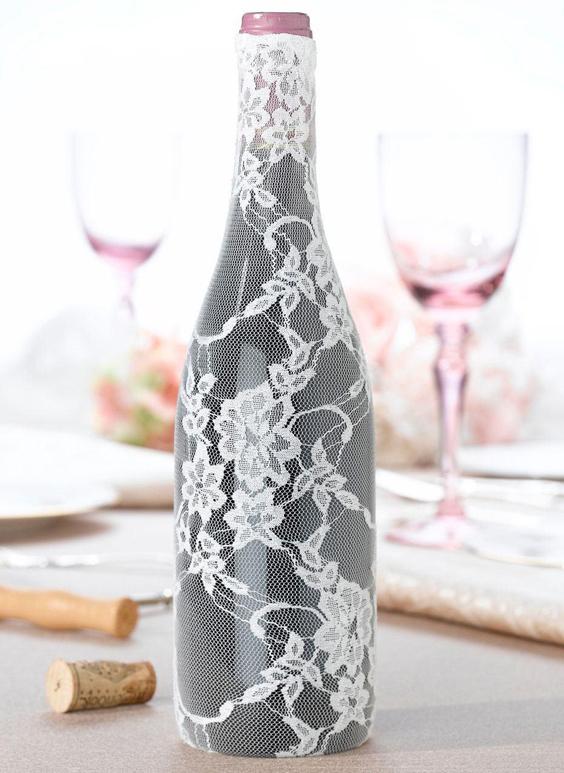 garrafa decorada renda