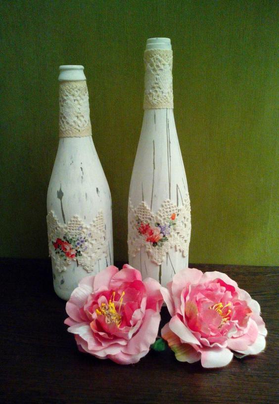 garrafa decorada e pintada