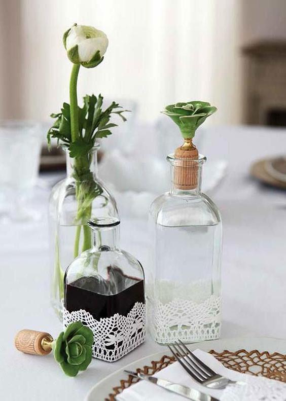 garrafa decorada para centro de mesa